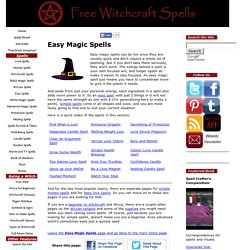 Easy Magic Spells in Wicca and Witchcraft
