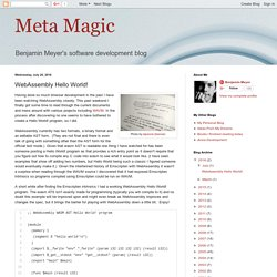Meta Magic: WebAssembly Hello World!