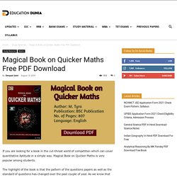 Magical Book On Quicker Maths Free PDF Download