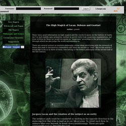 Open Magick: The High Magick of Lacan, Deleuze and Guattari