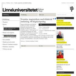 Svenska, magisterkurs med didaktisk inriktning