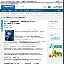 Novel Magnesium Compound Reverses Neurodegeneration