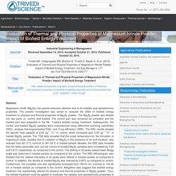 Magnesium Nitride Powder: Impact of Biofield Energy Treatment