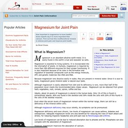 Magnesium and Joint Pain - ProgressiveHealth.com