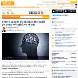 Study supports magnesium threonate potential for cognitive health