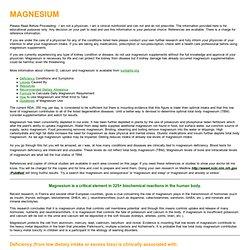 Magnesium Update