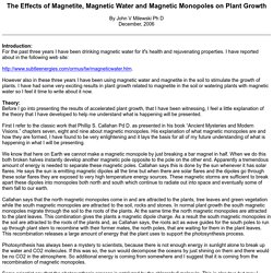 The Effects of Magnetite, Magnetic Water and Magnetic Monopoles on Plant Growth