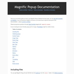 Magnific Popup Documentation