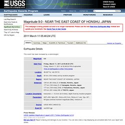 Magnitude 8.8 - NEAR THE EAST COAST OF HONSHU, JAPAN
