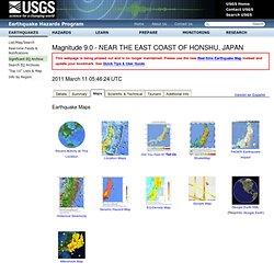 Données et cartes sur le séisme de Honshu (11 mars 2011) - USGS