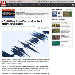 4.3, 4.8 Magnitude Earthquakes Rock Northern Oklahoma