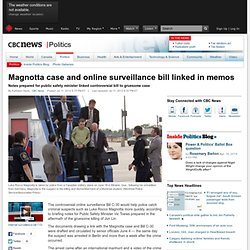 Magnotta case and online surveillance bill linked in memos - Politics
