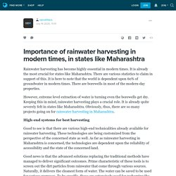 Importance of rainwater harvesting in modern times, in states like Maharashtra!