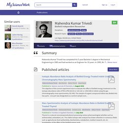 Mahendra Kumar Trivedi - Biofield Researcher