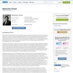 Mahendra Trivedi - Biofield Energy Researcher – Geni.com