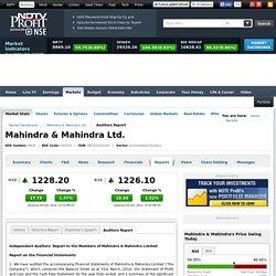 Mahindra & Mahindra: Auditor's Report of Mahindra & Mahindra