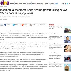 Mahindra & Mahindra sees tractor growth falling below 5% on poor rains, cyclones