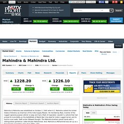 Mahindra & Mahindra: Reports, Company History, Directors Report, Chairman's Speech, Auditors Report of Mahindra & Mahindra