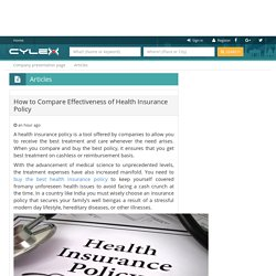 How to Compare Effectiveness of Health Insurance Policy
