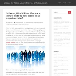 Mahwah, NJ - William Almonte - How to build up your career as an expert