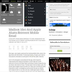 Mailbox: Ideo And Apple Alums Reinvent Mobile Email