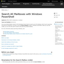 Search All Mailboxes with Windows PowerShell