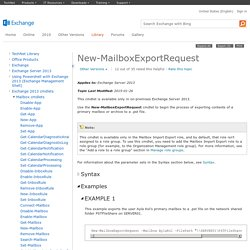 New-MailboxExportRequest: Exchange 2013 Help