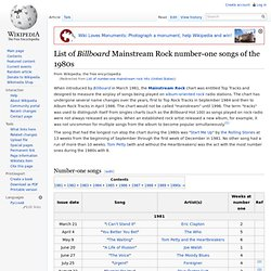 List of number-one mainstream rock hits (United States)
