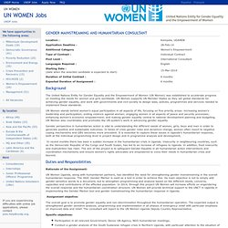 UN WOMEN Jobs - 44135- Gender Mainstreaming and Humanitarian Consultant
