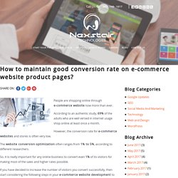How to maintain good conversion rate on e-commerce website product pages?