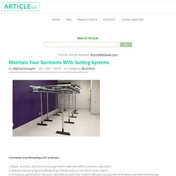 Consider the Garment Warehousing Rail System