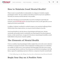 How to Maintain Good Mental Health?