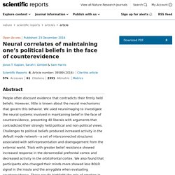 Neural correlates of maintaining one's political beliefs in the face of counterevidence