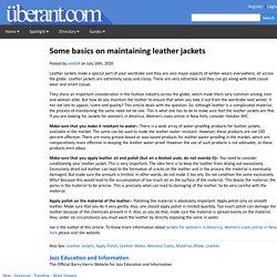Some basics on maintaining leather jackets