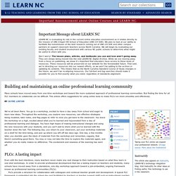 Building and maintaining an online professional learning community