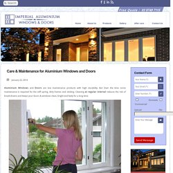Care & Maintenance for Aluminium Windows and Doors