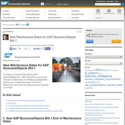 New Maintenance Dates for SAP BusinessObjects B...