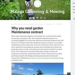 Why you need garden Maintenance contract