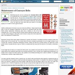 Maintenance of Food Conveyer Belts in UAE