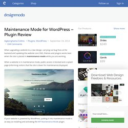 Maintenance Mode for WordPress - Plugin Review - Designmodo