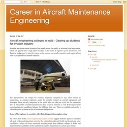 Aircraft engineering colleges in India - Gearing up students for aviation industry