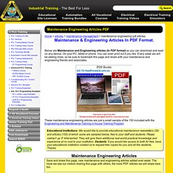 Maintenance Engineering Articles