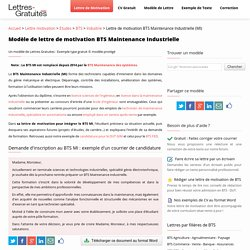 Lettre de motivation BTS Maintenance Industrielle (MI)
