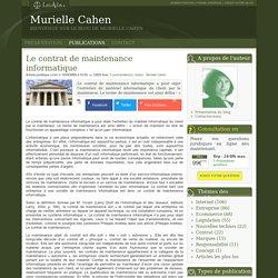 Le contrat de maintenance informatique - Murielle cahen