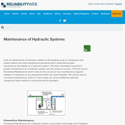 Maintenance of Hydraulic Systems - Reliabilityweb: A Culture of Reliability