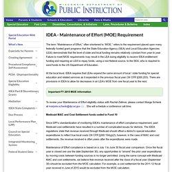 IDEA - Maintenance of Effort (MOE) Requirement