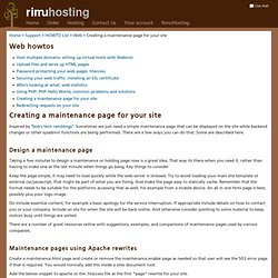 Creating a maintenance page for your site - RimuHosting