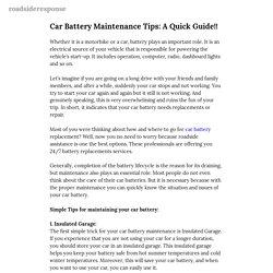 Car Battery Maintenance Tips: A Quick Guide!! — roadsideresponse