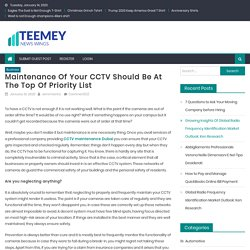 Maintenance of Your CCTV Should Be at the Top of Priority List