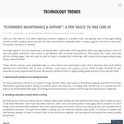 """Ecommerce Maintenance & Support"": A few 'basics' to take care of – Technology Trends"